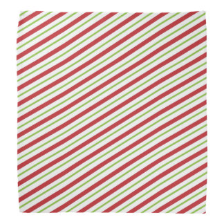 Candy Cane Striped Christmas Red and Green Head Kerchief