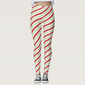 Candy Cane Striped Christmas Red and Green Leggings
