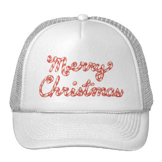 Candy Cane Striped Merry Christmas Mesh Hat