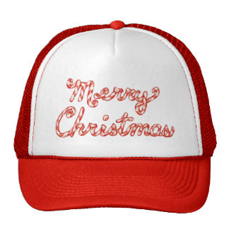 Candy Cane Striped Merry Christmas Hats