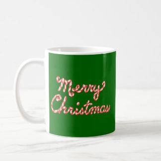 Candy Cane Striped Merry Christmas Mugs