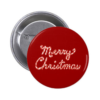 Candy Cane Striped Merry Christmas Pinback Buttons