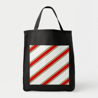 Candy cane striped pattern grocery tote bag