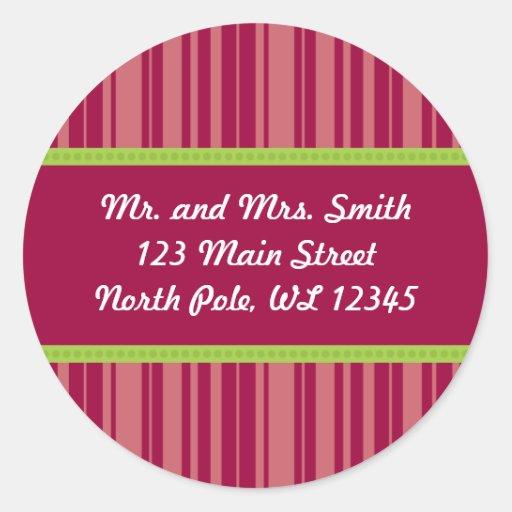 Candy Cane Stripes Address Label - Revised Round Sticker