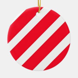 Candy Cane Stripes Ceramic Ornament