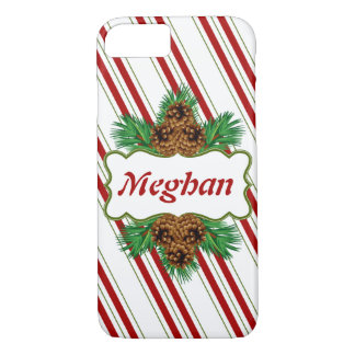 Candy Cane Stripes Christmas Holidays Personalized iPhone 7 Case