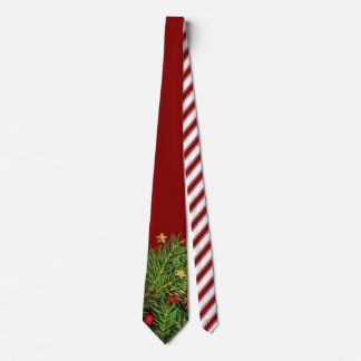 Candy Cane Stripes Christmas Pine Needles Tie