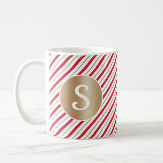 Candy Cane Stripes Faux Gold and Red Monogram Mug