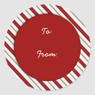 Candy Cane Stripes Holiday Gift Tag Round Sticker