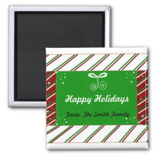 Candy Cane Stripes Holiday Greeting Square Magnet