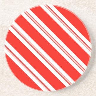 Candy Cane Stripes Holiday Pattern Sandstone Coaster