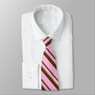 Candy Cane Stripes, pink and chocolate brown Tie
