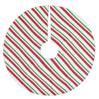 Candy cane stripes - red and green brushed polyester tree skirt