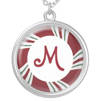 Candy Cane Stripes Red White Green Monogram Silver Plated Necklace