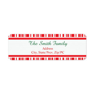Candy Cane Stripes Return Address Label