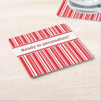 Candy Cane Stripes Square Paper Coaster
