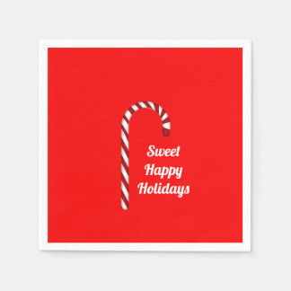 Candy Cane Sweet Happy Holidays Paper Napkin