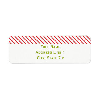 Candy Cane Top Holiday Return Address Label