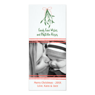 Candy cane wishes and mistletoe kisses 10 cm x 24 cm invitation card