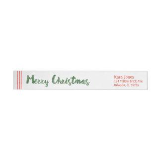 Candy cane wishes merry Christmas Wraparound Return Address Label