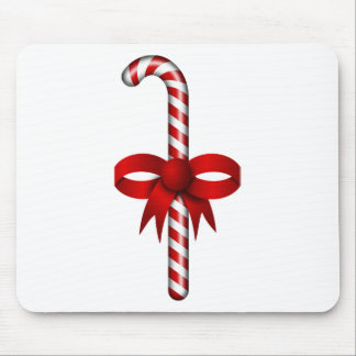 Candy Cane with Red Ribbon Bow Tied Around It Mouse Pad