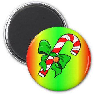 candy cane xmas 6 cm round magnet