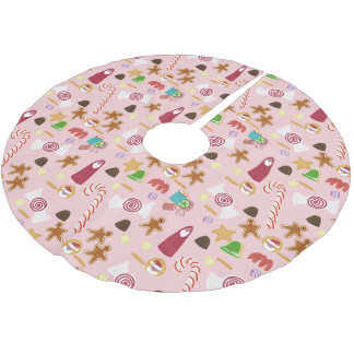 Candy Canes and Chocolates on Pink Brushed Polyester Tree Skirt