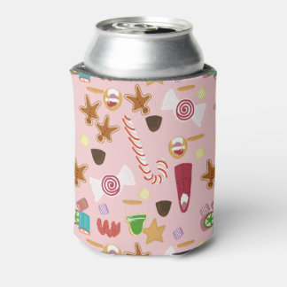 Candy Canes and Chocolates on Pink Can Cooler