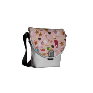 Candy Canes and Chocolates on Pink Courier Bag