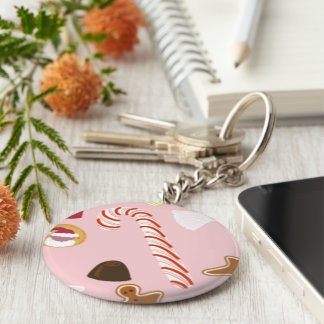 Candy Canes and Chocolates on Pink Key Ring