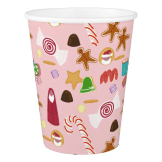 Candy Canes and Chocolates on Pink Paper Cup