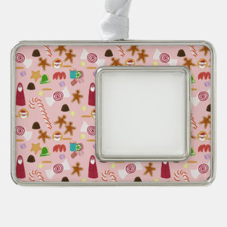 Candy Canes and Chocolates on Pink Silver Plated Framed Ornament