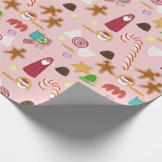 Candy Canes and Chocolates on Pink Wrapping Paper