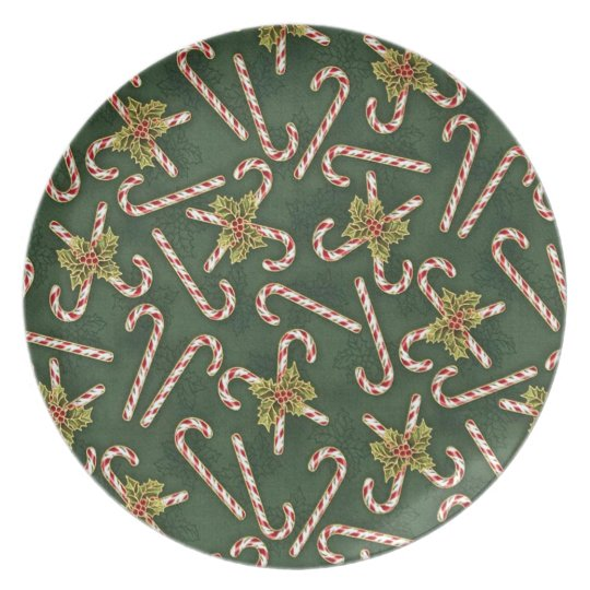Candy Canes And Holly Plate