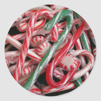 Candy Canes and Peppermints Christmas Holiday Round Sticker