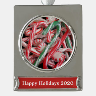 Candy Canes and Peppermints Christmas Holiday Silver Plated Banner Ornament