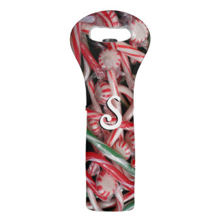 Candy Canes and Peppermints Christmas Holiday Wine Bag