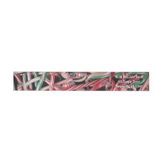 Candy Canes and Peppermints Christmas Holiday Wrap Around Label