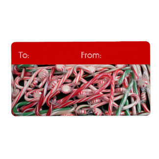Candy Canes and Peppermints Gift Tag Shipping Label