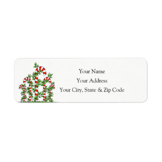 Candy Canes and Vines Christmas Address Label