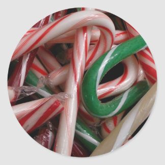 Candy Canes Christmas Holiday White Green and Red Round Sticker