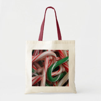 Candy Canes Christmas Holiday White Green and Red Tote Bag