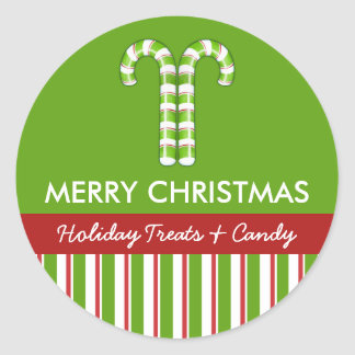 Candy Canes green Candy Gift Jar Round Label Round Sticker