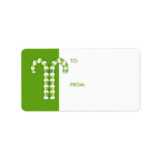 Candy Canes green Gift Tag Address Label