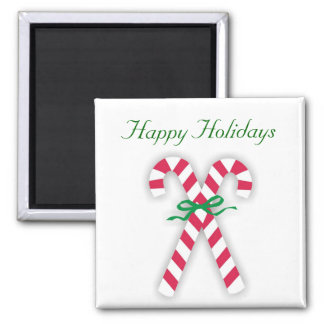 Candy Canes Happy Holidays Magnet