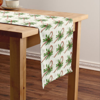 Candy Canes & Holly Christmas Table Runner