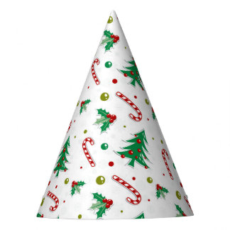 Candy Canes, Mistletoe, and Christmas Trees Party Hat