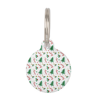 Candy Canes, Mistletoe, and Christmas Trees Pet Name Tag