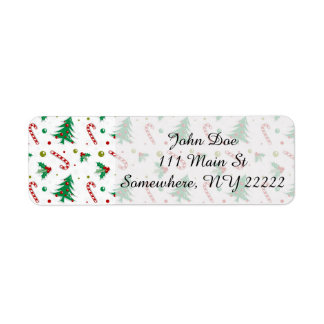 Candy Canes, Mistletoe, and Christmas Trees Return Address Label
