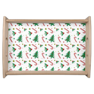 Candy Canes, Mistletoe, and Christmas Trees Serving Tray